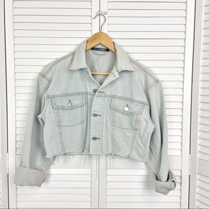 Women's Tic Tok Cropped Jean Jacket Small